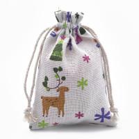 Bolsa tela regalos motivos navidad 14x10 cm - 1 unidad
