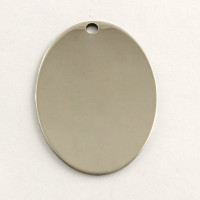 Chapa acero inoxidable placa oval para grabar 42x30 mm , int 3 mm