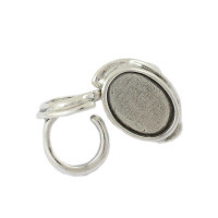 Base anillo Zamak baño plata para cristal 25x18 mm ( NUEVA COLECCION)
