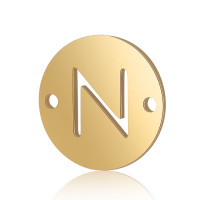 Letra N - Entrepieza inicial acero dorado 12 mm, int 0.8 mm