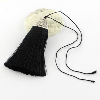 Pompon Negro borla de hilo largo 8x2 cm con capuchon