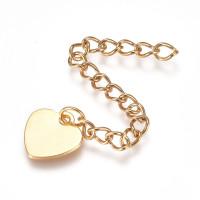 Cadena extendedora o alargadora de acero dorado 6.1 cm con corazon final ( se puede grabar)