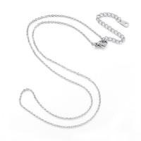 Cadena collar gargantilla acero plateado eslabon oval 1.5 mm - 44 cm + 7 cm extendedora