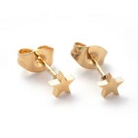 Estrella mini 4 mm- Pareja pendientes acero inoxidable dorado