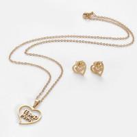Corazón Te amo mama- Conjunto collar y pendientes de acero dorado