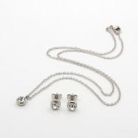 Circonita blanca - Conjunto collar 45 cm y pendientes 7 mm de acero plateado