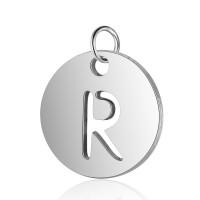 Moneda inicial letra R - Acero inoxidable plateado 12 mm con anilla