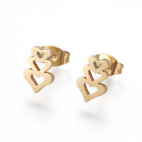 Pareja pendientes acero inoxidable dorado - Tres corazones 10x7 mm
