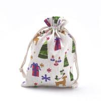 Bolsa tela regalos motivos navidad 18x13 cm - 1 unidad