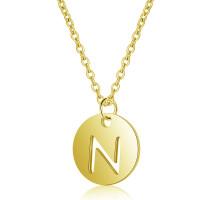 Inicial letra N - Gargantilla acero dorado moneda inicial 12 mm, 40 +5 cm largo
