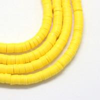 Rondel 6 mm disco arcilla Amarillo vivo - 6x1 mm- Hilera de 38 cm - 380 uds aprox