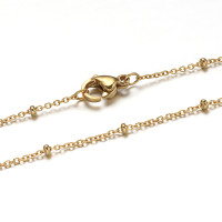 Cadena gargantilla acero inoxidable con bolitas dorado 45 cm