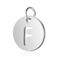 Moneda inicial letra F - Acero inoxidable plateado 12 mm con anilla