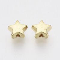 Estrella acrilica dorada 6x6.5x3.5 mm.Taladro 1.2 mm ( 50 uds)