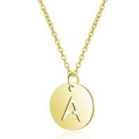 Inicial letra A - Gargantilla acero dorado moneda inicial 12 mm, 40 +5 cm largo