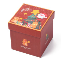 Cajita regalo motivos Navidad tamaño 11.5x11.5x12 cm - ROJA Mod.1