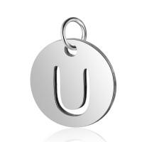Moneda inicial letra U - Acero inoxidable plateado 12 mm con anilla