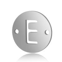 Letra E - Entrepieza inicial acero plateado 12 mm, int 0.8 mm