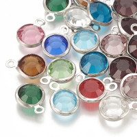 Colgante acero inoxidable strass mix colores 12x8 mm- 5 uds mix