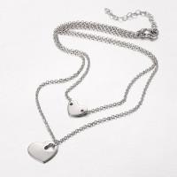 Cadena gargantilla acero plateado doble altura corazones ( 39 y 45 cm)