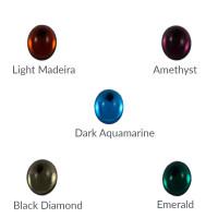 Cristal ovalado 14x10 mm para piezas de zamak - Dark Aquamarine