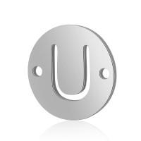 Letra U - Entrepieza inicial acero plateado 12 mm, int 0.8 mm