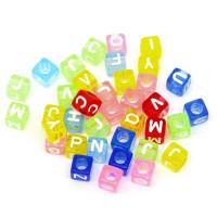 Abalorios cubos colores abecedario 6 mm ( 100 uds)