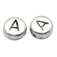 Abalorio redondos abecedario plateado 7 mm -Letra A - 50 uds