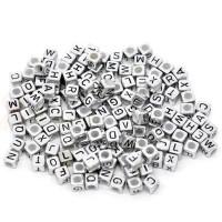 Abalorio abecedario cubo plateado 6x6 mm solo LETRA F ( 25 uds)