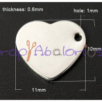 Moneda chapita de acero lisa forma corazon,ideal grabar 11x10 mm