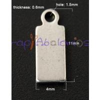 Plaquita mini  acero inoxidable 11x4x0.6 mm Taladro 1.5 mm.