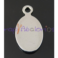 Moneda chapita de acero lisa forma OVAL ,ideal grabar 20x10 mm