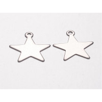 Colgante estrella de acero lisa, ideal grabar 20x18  mm