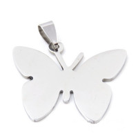 Colgante acero inoxidable mariposa grabar 31x35 mm