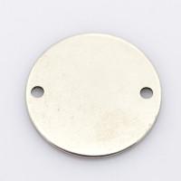 Entrepieza de acero inoxidable 20 mm para grabar, taladro 2 mm