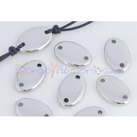 Entrepieza conector oval acero inoxidable 18x11x3.8.Taladro 1.5
