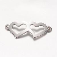 Entrepieza acero inoxidable dos corazones 31.5x12.5 mm
