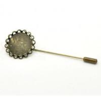 Agujon de bronce 8 cm  con base camafeo 20 mm  y capuchon