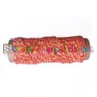 Cordon de algodon pulido y encerado AMA y ROJO 2 mm - 10 metros