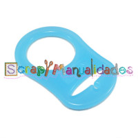 Anilla flexible para chupetero 47x32 mm , AZUL TRANSPARENTE