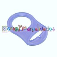 Anilla flexible para chupetero 47x32 mm , MORADO TRANSPARENTE