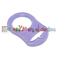 Anilla flexible para chupetero 47x32 mm , LILA TRANSPARENTE