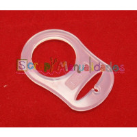 Anilla flexible para chupetero 47x32 mm , BLANCO TRANSPARENTE