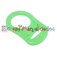 Anilla flexible para chupetero 47x32 mm , VERDE TRANSPARENTE