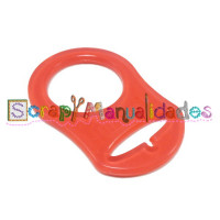 Anilla flexible para chupetero 47x32 mm , ROJO TRANSPARENTE