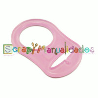 Anilla flexible para chupetero 47x32 mm , ROSA TRANSPARENTE