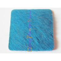 Aplique piel de potro 30x30 mm para anillo cuadrado.Azul