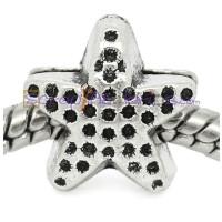 Estrella plata tibetana,12x11 mm, taladro 4.8mm