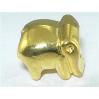 Abalorio pasador elefantito dorado 11x10 mm, int 4.5 mm