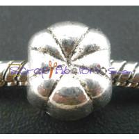 Abalorio rayas espaciador plata tibetana 11x8 mm, taladro 4.7 mm